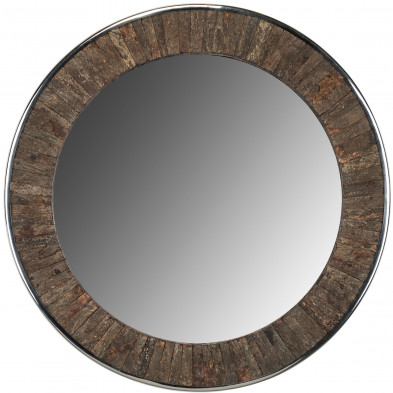 Miroir mural chêne rustique en bois massif recyclé L. 75 x P. 5 x H. 75 cm collection Daiman Richmond Interiors