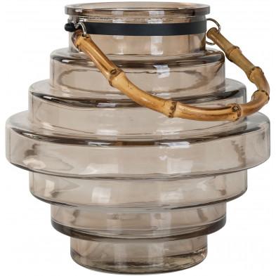 Bougeoir et chandelier beige moderne en acier  L. 23 x P. 23 x H. 22.5 cm collection Elin Richmond Interiors
