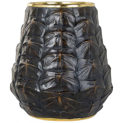 Vase noir contemporain en polyrésine L. 23.5 x P. 23.5 x H. 26 cm  collection Leah Richmond Interiors