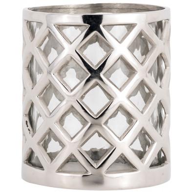Bougeoir et chandelier argenté design en aluminium  L. 14 x P. 14 x H. 16 cm collection Joni Richmond Interiors