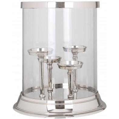 Bougeoir et chandelier argenté design en aluminium L. 30 x P. 30 x H. 32 cm collection Fay Richmond Interiors