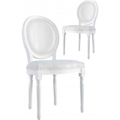 Lot de 2 chaises moderne en air cuir coloris blanc L. 58 x H.  96 cm collection Dre