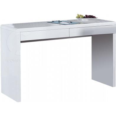Bureau blanc laqué avec 2 tiroirs L. 120 x P. 42 x H. 74 cm collection Loeb