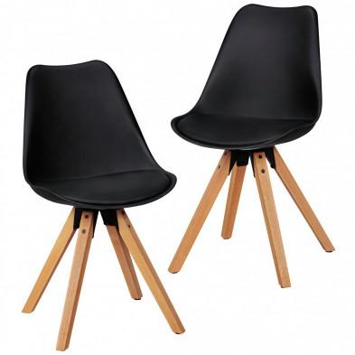 Lot de 2 Chaises de salle à manger moderne Noir Scandinave en L. 48 x P. 42 x H. 87 cm collection Mirjam