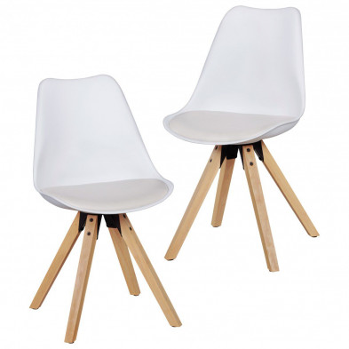 Lot de 2 Chaises de salle à manger moderne Blanc Scandinave en L. 48 x P. 42 x H. 87 cm  collection Mirjam