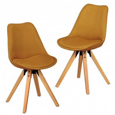 Lot de 2 Chaises de salle à manger moderne Jaune Scandinave en Bois massif L. 48 x P. 42 x H. 87 cm collection Mirjam