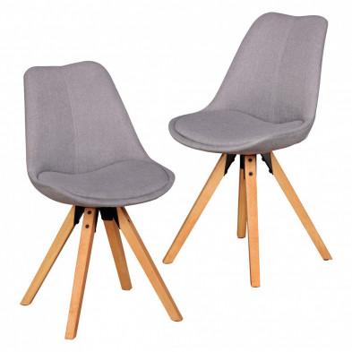 Lot de 2 Chaises de salle à manger moderne Gris Scandinave en Bois massif L. 48 x P. 42 x H. 87 cm collection Mirjam