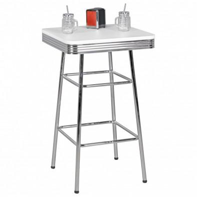 Table de bar blanc vintage en aluminium L. 60 x P. 60 x H. 100 cm collection Santegoets