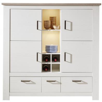 Meuble de rangement 4 portes, 3 tiroirs et 1 compartiment à bouteilles avec 4 niches coloris pin blanc et chêne Nelson L. 151 x P. 40 x H. 147 cm collection Vandervecht
