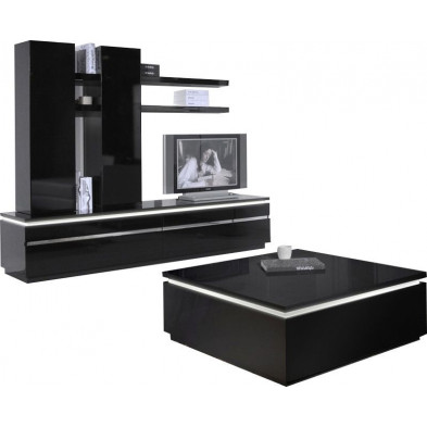 Ensemble meuble tv noir design en cm de largeur collection Bosavern