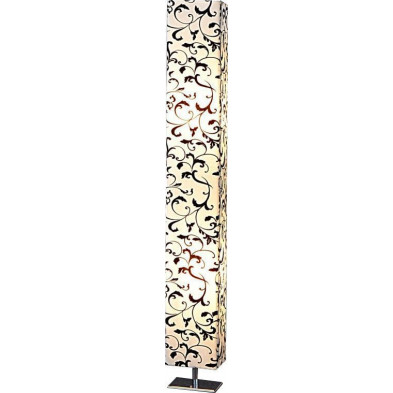 Lampadaire colonne 120 cm motif floral blanc et noir collection Smeaton