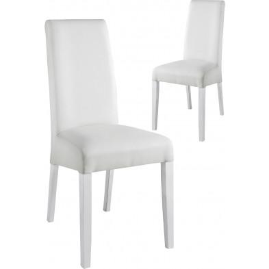 Lot de 2 Chaises de salle à manger moderne Blanc Design L. 48 x P. 48 x H. 100 cm collection Ursem