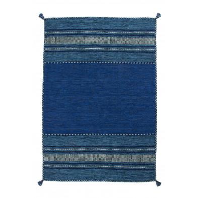 Tapis en laine bleu vintage tissé à la main en coton L. 230 x P. 160 x H. 0,8 cm collection Childers