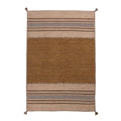 Tapis en laine marron vintage tissé à la main en coton L. 170 x P. 120 x H. 0,8 cm collection Childers