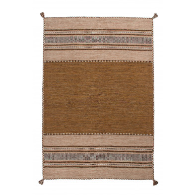 Tapis en laine  marron vintage tissé à la main L. 290 x P. 200 x H. 0,8 cm collection Childers