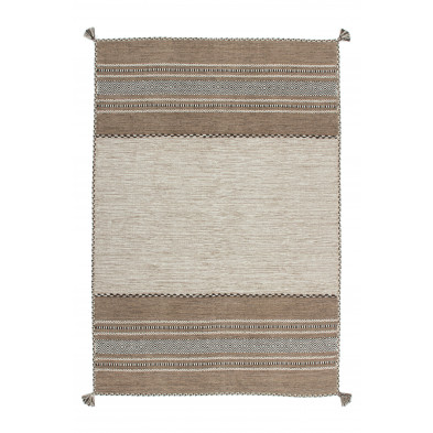 Tapis vintage tissé à la main en coton coloris beige L. 150 x P. 80 x H. 0,8 cm Collection Childers