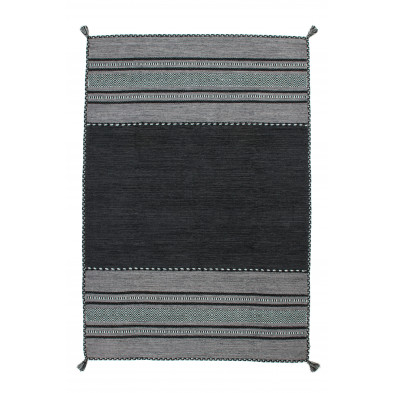 Tapis vintage tissé à la main en coton coloris gris L. 230 x P. 160 x H. 0,8 cm Collection Childers