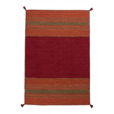 Tapis en laine rouge vintage tissé à la main en coton L. 230 x P. 160 x H. 0,8 cm  collection Childers