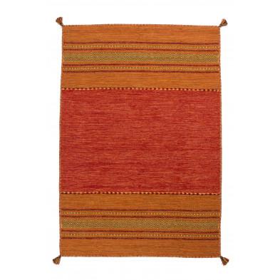 Tapis vintage tissé à la main en coton coloris orange L. 230 x P. 160 x H. 0,8 cm Collection Childers