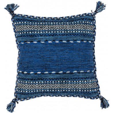 Coussin et oreiller bleu vintage tissé à la main en coton L. 45 x P. 45  cm collection Childers