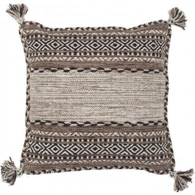 Coussin et oreiller beige vintage tissé à la main en coton L. 45 x P. 45 cm  collection Childers