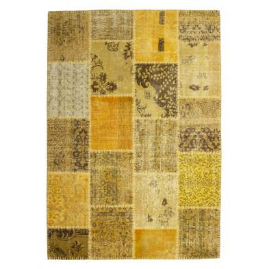 Tapis moderne tissé à la main en laine coloris jaune et or L. 150 x P. 80 x H. 0,8 cm Collection Nidderau
