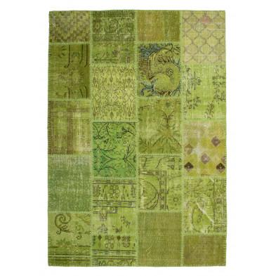 Tapis en laine vert moderne tissé à la main avec des motifs ethnique L. 170 x P. 120 x H. 0,8 cm Collection Nidderau