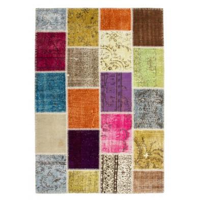 Tapis retro & patchwork multicouleur moderne tissé à la main en laine L. 170 x P. 120 x H. 0,8 cm collection Nidderau