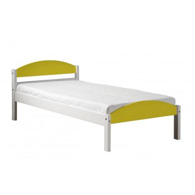 Lit 90x200 cm adulte contemporain jaune en bois massif collection Blakemere