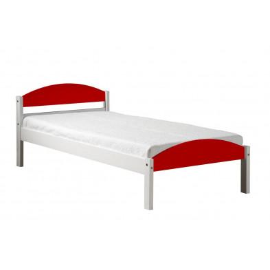 Lit 90x200 cm adulte contemporain rouge en bois massif collection Blakemere