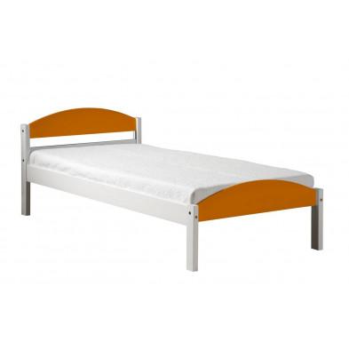 Lit 90x200 cm adulte orange contemporain en bois massif collection Blakemere