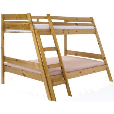Lit superposé contemporain marron en bois massif pin Collection Enterprise