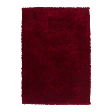 Tapis moderne shaggy coloris rouge aves des motifs uni L. 290 x P. 200 x H. 4 cm Collection Dorstadt