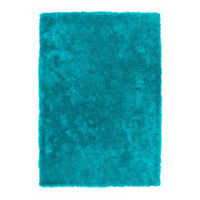 Tapis shaggy moderne coloris bleu aves des motifs uni L. 150 x P. 80 x H. 4 cm Collection Dorstadt
