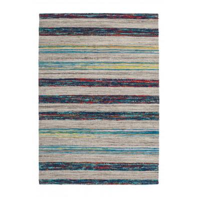 Tapis retro & patchwork bleu vintage tissé à la main en 60% laine + 20% coton et 20% soie artificielle L. 150 x P. 80 x H. 1,6 cm collection Sobreda