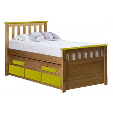 Lit adulte 90x190 cm jaune contemporain en  bois massif collection Luby