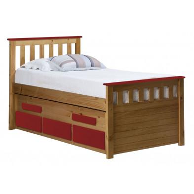 Lit adulte 90x200 cm contemporain rouge  en bois massif collection Luby