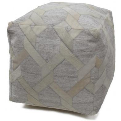 Pouf beige vintage  L. 45 x P. 45 x H. 45 cm  avec des motifs geometriques collection Wicher