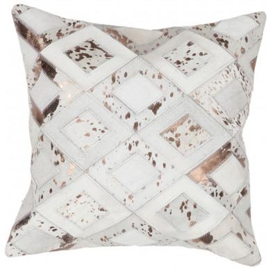 Coussin et oreiller beige vintage tissé à la main en cuir véritable L. 45 x P. 45 x H. 2,5 cm collection Threatening