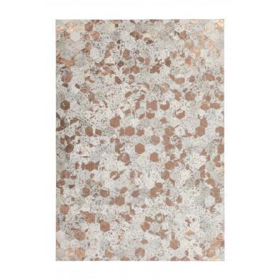 Tapis vintage en cuir véritable beige avec des motifs géométrique  L. 150 x P. 80 x H. 0,8 cm Collection Blainelake