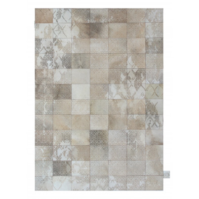 Tapis vintage en 50% cuir véritable et 50% polyester beige avec des motifs cubisme L. 300 x P. 200 x H. 1 cm Collection Breanais