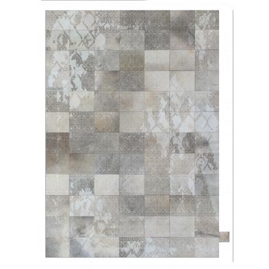 Tapis vintage en 50% cuir véritable et 50% polyester gris avec des motifs cubisme L. 300 x P. 200 x H. 1 cm Collection Breanais