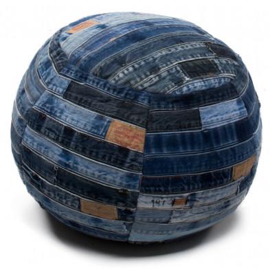 Pouf patchwork jeans bleu vintage L. 40 x P. 40 cm avec des motifs rayes collection Lim