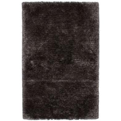 Tapis unicolore argenté moderne tissé à la machine en polyester L. 230 x P. 160 x H. 5,5 cm collection Wechsler