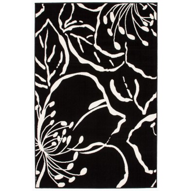 Tapis moderne noir en polypropylène avec des motifs floral L. 280 x P. 190 x H. 1 cm Collection  Rinteln