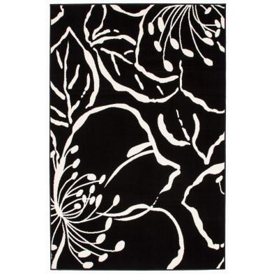 Tapis moderne noir en polypropylène L. 150 x P. 80 x H. 1 cm Collection  Rinteln