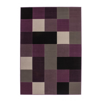 Tapis retro & patchwork gris moderne tissé à la machine en polypropylène L. 170 x P. 120 x H. 1 cm collection Forsake