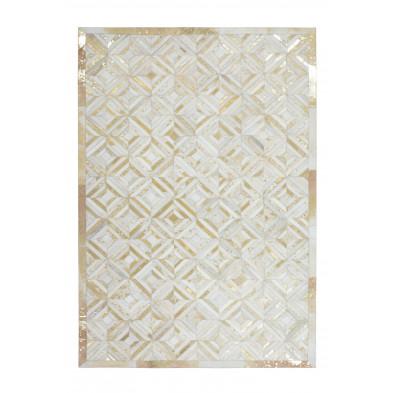 Tapis vintage en cuir véritable beige avec des motifs géométrique L. 170 x P. 120 x H. 0,8 cm Collection Zeke
