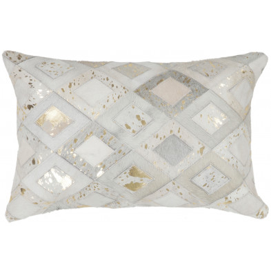 Coussin et oreiller beige vintage tissé à la main en cuir véritable L. 60 x P. 40 x H. 2,5 cm de largeur collection Threatening
