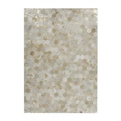 Tapis patchwork beige vintage tissé à la main en cuir véritable L. 170 x P. 120 x H. 0,8 cm  collection Blainelake